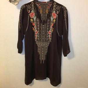 Johnny Was Embroidered Cupra Rayon Boho Dress